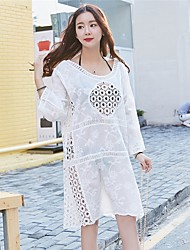 Women's Beach Holiday Going out Casual/Daily Sexy Simple Cute Loose Shift Dress,Solid Embroidered Jewel Above Knee Long SleeveCotton