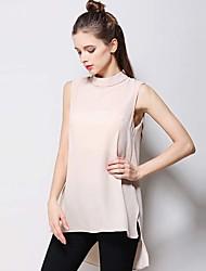 Damen Solide Einfach T-shirt,Rundhalsausschnitt Ärmellos Seide Baumwolle