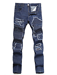 HOT! 28-42 Plus Size Men's Ripped High Elasticity Straight DenimJeans Pants Simple Loose Slim Denim Ripped Solid Patchwork Flower/Floral long trousers