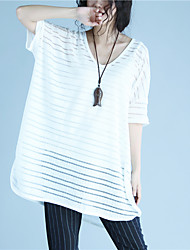 Damen Solide Einfach Lässig/Alltäglich T-shirt,Rundhalsausschnitt ½ Länge Ärmel Polyester
