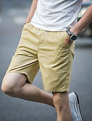 Hombre Sencillo Tiro Medio Inelástica Shorts Pantalones,Corte Recto Un Color Color puro