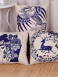 Set of 3 Blue And White Porcelain Style Printing Pillow Cover Classic Cotton/Linen Pillow Case