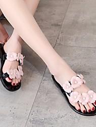 Damen Flache Schuhe Komfort Leuchtende Sohlen PU Sommer Normal Komfort Leuchtende Sohlen Schwarz Rosa Flach