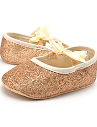 Baby Kids' Loafers & Slip-Ons First Walkers Synthetic Summer Fall Party & Evening Dress Casual Bowknot Flat Heel Champagne Silver Gold Flat