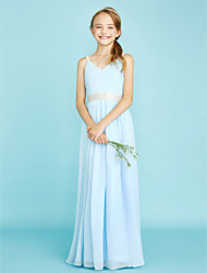 Sheath / Column Spaghetti Straps Floor Length Chiffon Junior Bridesmaid Dress with Crystal Detailing Sash / Ribbon Criss Cross byLAN TING