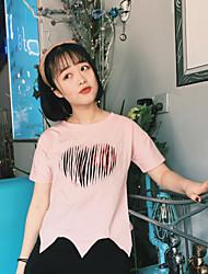 Damen Punkt Einfach T-shirt,Rundhalsausschnitt Kurzarm Baumwolle