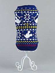 Hund Pullover Hundekleidung Weihnachten Schneeflocke Rot Blau