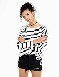 Women's Fine Stripe Going out Simple T-shirt,Striped Round Neck Long Sleeve White Black Cotton Medium