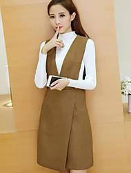 Для женщин Зима Вязаная ткань Платья Костюмы Глубокий V-образный вырез Длинный рукав
