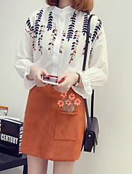 Damen Solide Einfach Normal T-shirt,Rundhalsausschnitt Langarm Baumwolle