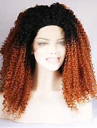 Ombre T1B/30 Synthetic Lace Front Wig Afro Curly Hair Heat Resistant Fiber Hair Wigs for Woman
