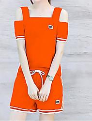 Chemisier Pantalon Costumes Femme,Couleur Pleine Quotidien Décontracté simple Printemps Eté Manches Courtes Bateau Stylé Micro-élastique