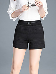 Women's High Rise Micro-elastic Shorts Pants,Simple Slim Pure Color Jacquard Sequins Solid
