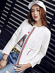 Women's Casual/Daily Simple Summer Jacket,Solid Striped Round Neck Long Sleeve Short Nylon