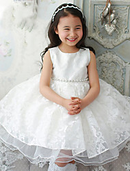 Princess Knee-length Flower Girl Dress Jewel with