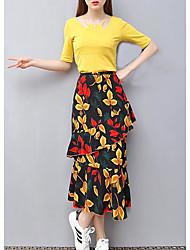 Manches Ajustées Jupe Costumes Femme,Couleur Pleine Imprimé Quotidien Vêtements de Plein Air Sortie Rendez-vous Décontracté Printemps Eté