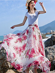 Women's Floral Patterns Holiday Maxi Skirts Swing Print Summer