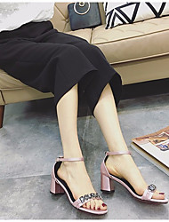 Damen Sandalen PU Frühling Schwarz Grau Rosa 5 - 7 cm