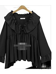Damen Solide Sexy Ausgehen T-shirt,Rundhalsausschnitt Langarm Baumwolle