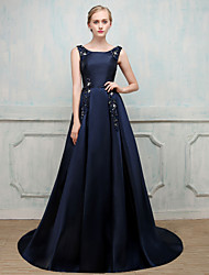 Ball Gown Jewel Neck Sweep / Brush Train Stick-Satin Fiber Formal Evening Dress with Beading Imitation Pearl by MMHY