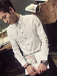 Masculino Camisa Social Casual SimplesListrado Poliéster Colarinho Com Botões Manga Longa