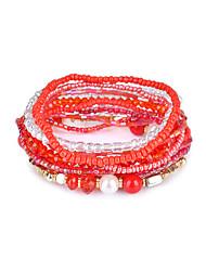 Lureme Bohemian Cubic Beads Pearl Multi Strand Textured Stackable Bangle Bracelet Set