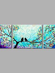 Pintados à mão Paisagens Abstratas Contemprâneo Abstracto 3 Painéis Tela Pintura a Óleo For Decoração para casa