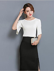 Women's Casual/Daily Cute Summer T-shirt Skirt Suits,Solid Round Neck 3/4 Length Sleeve Micro-elastic