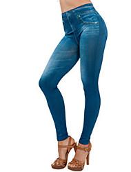 Для женщин Один цвет Джинсовые Legging,Полиэстер Спандекс Ткань средней плотности
