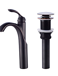 Cachoeira de descarga de óleo esfregada de bronze, único punho, banheiro, pia, vaso, faucet, bacia, misturador, torneira, alto, corpo