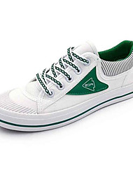Women's Sneakers Comfort Canvas Spring Casual Screen Color White/Green White/Blue Flat