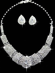 Jewelry Set Rhinestone Square Luxury Rhinestone Alloy Square 1 Necklace 1 Pair of Earrings For Wedding Party Anniversary Birthday 1 Set