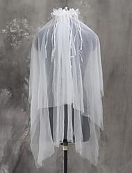 Wedding Veil Two-tier Elbow Veils Fingertip Veils Cut Edge Tulle Netting