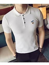 Tee-shirt Homme,Couleur Pleine Bureau/Carrière Vintage Manches Courtes Col de Chemise Coton