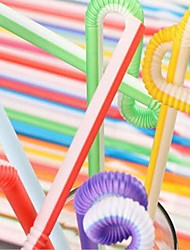 Casual/Daily Drinkware 100 PE Juice Smoothie Straws(100 White Background  with Color Straws)