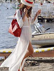 Women's Going out Beach Holiday Chiffon Swing Dress,Solid Deep V Midi Long Sleeve Terylene All Seasons Spring Mid Rise Inelastic Thin