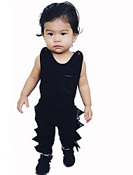 Baby Infants And Young Children Cotton Fashion Cartoon Pattern The Crocodile Tooth Edge Sleeveless Clothing Jumpsuit Climb Clothes