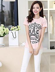 Tee-shirt Femme,Couleur Pleine Lettre Décontracté / Quotidien Sortie simple Manches Courtes Col Arrondi Cuirs Particuliers