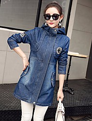 Veste en jean Femme,Couleur Pleine Décontracté / Quotidien simple Printemps Manches longues Col de Chemise Long Coton