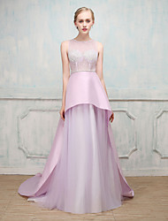 Ball Gown Illusion Neckline Sweep / Brush Train Stick-Satin Tulle Formal Evening Dress with by MMHY