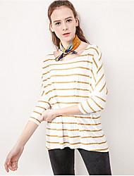 Damen Gestreift Einfach Normal T-shirt,Rundhalsausschnitt Halbe Ärmel Baumwolle Viskose