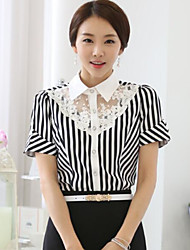Women's Striped Short Sleeve T Shirt Lace OL T Shirt