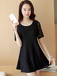 Women's Going out Casual/Daily A Line Dress,Solid Jacquard Round Neck Above Knee Short Sleeve Polyester Summer Low Rise Inelastic Medium
