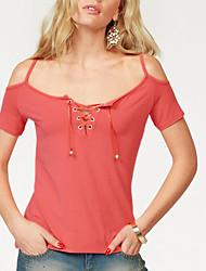 Damen Solide Sexy Street Schick Ausgehen Lässig/Alltäglich T-shirt,Gurt Frühling Sommer Kurzarm Polyester Mittel