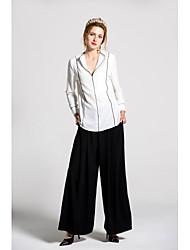 Damen einfarbig Niedlich Ausgehen Lässig/Alltäglich Shirt Hose Anzüge,V-Ausschnitt Frühling Sommer Lange Ärmel