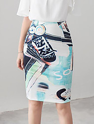 Women's Going out Casual/Daily Knee-length Skirts,Street chic Pencil Floral Floral Summer
