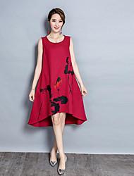 Для женщин На выход Шинуазери (китайский стиль) Свободный силуэт Платье Цветочный принт,Круглый вырез Средней длины Без рукавов Полиэстер