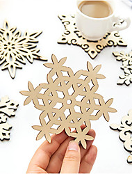 Snowflake Mug Coasters Placemat Wooden Carved Christmas Coffee Tea Drinks Cup Holder Mats Gift Random Style 1pc