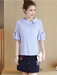 Damen Shirt Rock Anzüge,Hemdkragen Sommer ½ Ärmel Mikro-elastisch