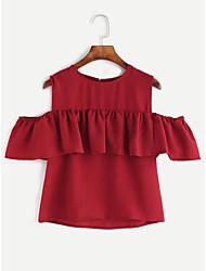 Damen Solide Niedlich Ausgehen T-shirt,Trägerlos Frühling ½ Länge Ärmel Polyester Lichtdurchlässig